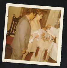 Vintage Antique Photograph Mom & Dad in Church w/ Baby Being Baptized