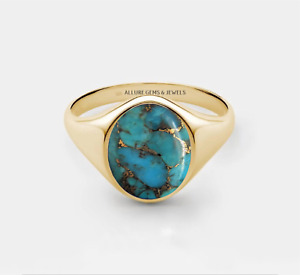 Men Copper Turquoise Ring, Men Signer Ring,Sterling Silver Turquoise Pinky Ring