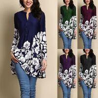 Plus Size Womens Floral V Neck Long Sleeve Blouse Tunic Tops Short Mini Dress