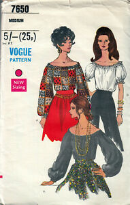 70s SEWING PATTERN VOGUE 7650 BARDOT OFF-SHOULDER BLOUSE SLEEVES SZ M 12-14 M5A