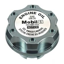 Gunmetal Billet Silver Mobil1 5W-30 Oil Cap Filler Fits GM Chevy Buick Cadillac