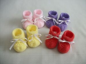Crochet Baby Booties w/Ribbon Newborn Infant Girl *Choose Color* Hand-Crocheted