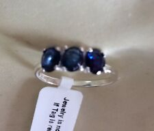 1.25 Ct, Natural, Blue Sapphire Ring, 3 Stone, Sterling Silver, Size T, I, V Or