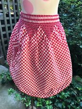 VINTAGE RED & WHITE GINGHAM APRON WITH SMOCKING/CHICKEN SCRATCH EMBROIDERY