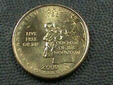 UNITED STATES 25 Cents 2000 P UNC GOLD PLATED , NEW HAMPSHIRE