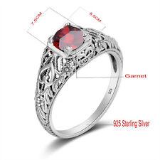 Silver ring Garnet Handmade Victorian Jewelry January Birthstone rings Size 5-10
