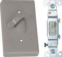 Sigma  15 amps Single Pole  Toggle  Weatherproof Switch & Cover  Gray
