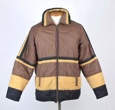 Vintage 80s SIGALLO Brown Tan Striped Puffer Jacket Ski Coat Mens Size Large
