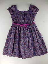 MARKS & SPENCER Dress 9 Girls Purple Floral Pink Orange Spring Easter Kids