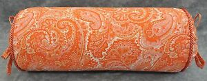 NEW Corded Pillow made w Ralph Lauren Harbor View Orange Paisley Cotton Fabric