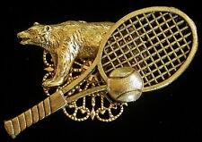 Grizzly Bear Tennis Pin 24 Karat Gold Plate Bears