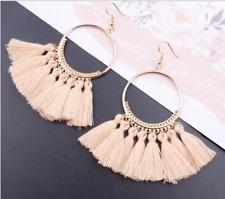 Fashion Boho Long Tassel Hook Wire Earrings for Women Dangle Bohemia Jewelry