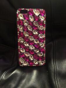 Iphone 6s Plus Tear Drop Rhinestone Case Size 5.5 Pink & Crystal
