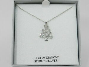 "Macy's Diamond (1/10 ct. t.w.) Christmas Tree 18"" Pendant Necklace in Sterling"
