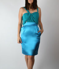 Authentic GUCCI Silk Blue Green Sleeveless Pencil Dress Size 40