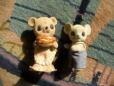 Josef Originals Japan Two Flocked Fuzzy Mouse In Overalls & Bear In Apron