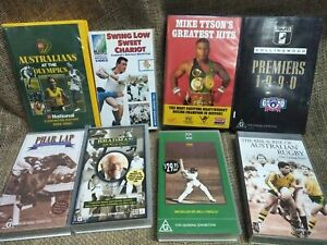 8 Different Kind Of Sports RUGBY ,CRICKET FOOTBOOL,HORSE,BOXING VHS Tapes