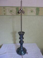 Ancienne Grande Lampe Métal Argenté deux feux XIX chapeau bouillote bougeoir