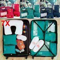 7PCS Cube Travel Luggage Storage Bag Packing Clothes Socks Makeup Organizer UK