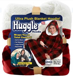 Huggle Hoodie, Ultra Plush Hooded Blanket Robe, Premium Fleece,Buffalo Plaid