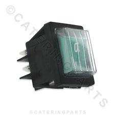SW61 Universale Verde Illuminato COPERTA IMPERMEABILE INTERRUTTORE Rocker 30x22mm su OFF