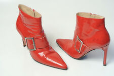 GINA size 39  Red Patent Leather Stiletto Ankle  Boots. SENSATIONAL !