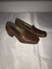 Enzo Angiolini Women's Brown Leather Loafers Slip On Block Heels Size 7.5