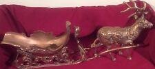 Heavy Brass Reindeer & Sleigh Statues Holliday Christmas Decorations Figures