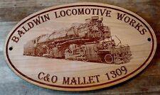 Western Maryland Mallet Engraved Wooden Sign / Baldwin Locomotive Railroad