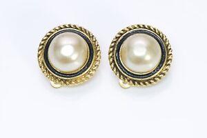 CHANEL Paris 1982 Gold Plated Black Enamel Round Pearl Earrings