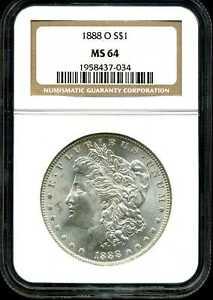 1888-O $1 Morgan Silver Dollar MS64 NGC 1958437-034
