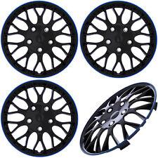 "4 Piece Set 15"" inch Ice Black & Blue Trim Hub Caps Wheel Covers Cap Covers"