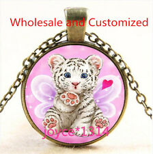 Vintage White Tiger Cabochon bronze Glass Chain Pendant Necklace TS-4723