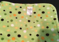 Bean Sprout Green Velour Orange Brown Polka Dot Sherpa Baby Blanket