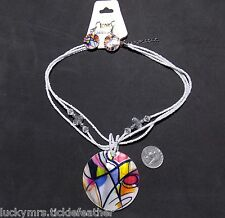 Lg MOP Pendant Necklace/Pierced Earrings Set,Colorful Abstract w/Glass Beads NEW
