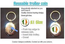 Irish Shamrock Clover Flag - REUSABLE £1 SHOPPING TROLLEY TOKEN - GREAT GIFT