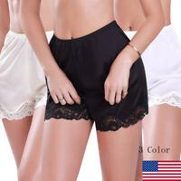 US Women Anti-Static Slip Pettipants Loose Satin Bloomers Panties Short Lingerie