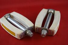 Vintage pedal set French thread chrome White rubber retro city bikes NOS