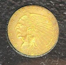 1911 P $2.5 INDIAN HEAD QUARTER EAGLE USA GOLD COIN $2 1/2 Excellent UNC