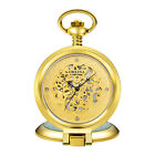 Classic Skeleton Pocket Watch Mechanical Hand Winding Steampunk Gold Case Chain