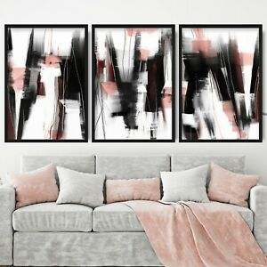 3 Abstract Black & Pink Art Prints from Original Textured Painting Mix Size V1