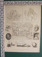 1820 Datato Antico Stampa ~Composizione~ Disegno Art Figure Ombreggiatura Oscure