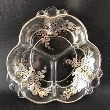Fostoria Baroque With Silver Overlay 3 Compartent Dish Floral Bouquet  10K