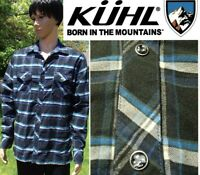 KUHL lowdown shirt soft polyester flannel pearl snap long sleeve plaid mens LG