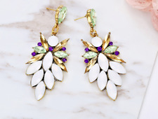 STUNNING ZARA  CRYSTAL/WHITE OPAL SHAROUK INSPIRED EARRINGS PARTY!!
