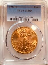 1923-D $20 Double Eagle Saint Gardens Gold PCGS MS65 GEM BU PQ!
