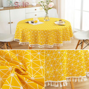Cotton Linen With Tassel Round Tablecloth Geometric Reusable Wedding Party
