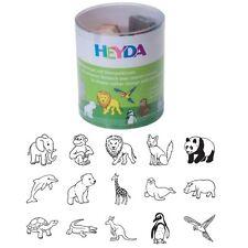 Heyda Motiv Stempel Set, Holzstempel Zootiere, 15 Stück, mit Stempelkissen
