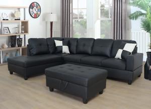 NEW Black Sectional w/ FREE Storage Ottoman & 2 BK / WT Pillows Modern Furniture