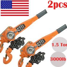 2pcs Chain Lever Block Hoist Come Along Ratchet Lift 1.5 Ton 3000lb Capacity USA